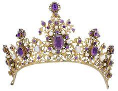 Tiara (amethysts, pearls, gilt).