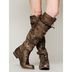 Free People Landmark Lace Up Boot (135 AUD) ❤ liked on Polyvore featuring shoes, boots, over-the-knee boots, laced boots, short high heel boots, distressed boots, tall over the knee boots and lace up boots