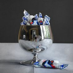 Candy Goblet by James Neil Hollingsworth Black Paper Drawing, Still Life Artists, Hyper Realistic Paintings, Examples Of Art, Realism Art, Photorealism, Traditional Paintings, Art Challenge, Contemporary Artists