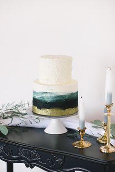 27 Small Wedding Cakes With Big Style ❤ small wedding cakes modern white grenn cake kristynharderphotography ❤ See more: http://www.weddingforward.com/small-wedding-cakes/ #weddingforward #wedding #bride