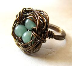 wire neckless bird nest | Birds Nest Ring Green Jade Bronze Wire Wrapped by BellinaCreations