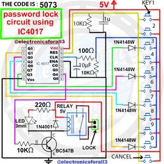 Password Lock Circuit Using IC 4017 - eletro - Electronics Projects, Simple Electronics, Electrical Projects, Electrical Installation, Mechatronics Engineering, Electronic Engineering, Electronic Circuit Design, Physics Projects, Bartop Arcade