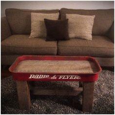Inlaid Oak Barn Wood, Rough Cedar Barn Wood Legs And Structure. Radio  Flyer, Wagon, Repurposed, Coffee Table, Kids Table, ...