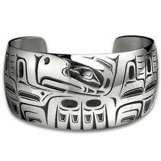 Sterling Silver Wide Eagle Northwest Coast Native American Bracelet. Made in USA. Metal Arts Group. $493.00