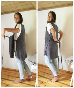 Sewing Aprons, Sewing Clothes, Diy Clothes, Dress Sewing, Pinafore Apron, Japanese Sewing, Japanese Apron, Retro Apron, Diy Couture