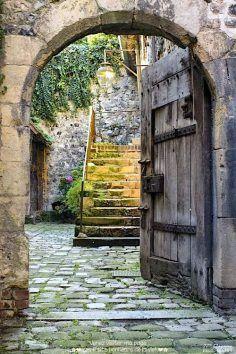 Medieval doorway in Honfleur, Lower Normandy, France Cool Doors, Unique Doors, The Doors, Windows And Doors, Honfleur, Door Knockers, Garden Gates, Doorway, Stairways