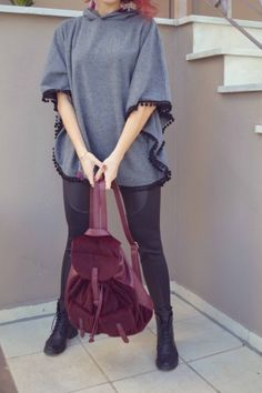 #streetstyle #leggings #swag #poncho #trend #backpack World Street, Street Styles, Backpack, Swag, Leggings, Bag Pack, Style, Street Style, Long Johns