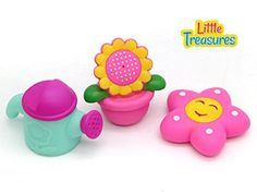 Little Treasures   Water the Flowers and the Plant Pot Right in your Tub Soft Bath Toys Painted with Smiling Faces which make Squeaky Sounds perfect for 19 months * Read more reviews of the product by visiting the link on the image.