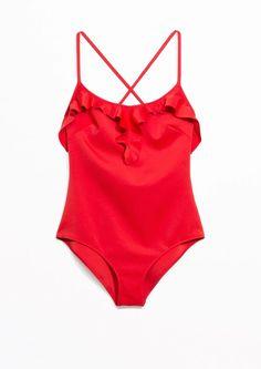 Women's Swimwear : & Other Stories Frill Swimsuit in Red - #Swimwear https://talkfashion.net/clothing/swimwear/womens-swimwear-other-stories-frill-swimsuit-in-red/