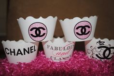 Coco CHANEL cupcake wrappers wedding baby by designstoimpress