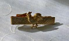 50's Gold Rooster Tie Clip Vintage Chicken by PopcornVintageByTann
