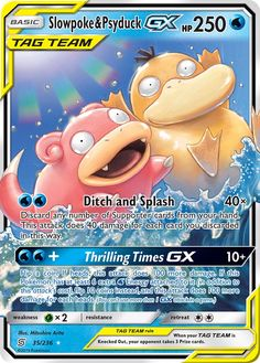Pokemon Slowpoke and Psyduck GX Tag Team Unified Minds Sun Moon Ultra Rare Pokemon Go, Cool Pokemon Cards, Rare Pokemon Cards, Pokemon Craft, Pikachu, Pokemon Trading Card, Pokemon Games, Pokemon Umbreon, Trading Cards