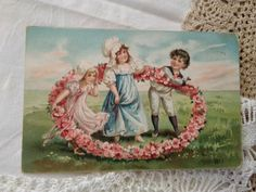 Antique beautiful, embossed Victorian style litho postcard, flowers, kids 1910 Vintage Postcards, Victorian Fashion, Antiques, Flowers, Kids, Painting, Beautiful, Art, Style