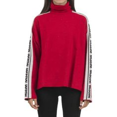Msgm Wool-Blend Logo Sweater ($365) ❤ liked on Polyvore featuring tops, sweaters, rosso, polo neck sweater, pink sweater, short-sleeve turtleneck sweaters, turtleneck tops and turtle neck sweater