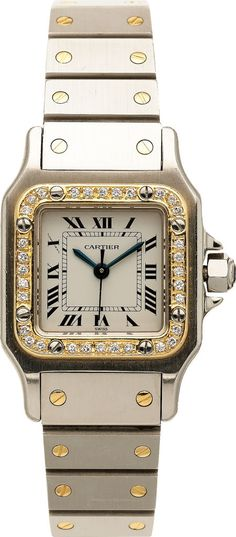 Cartier Lady's Diamond, Gold, Stainless Steel Santos | Lot #59001 | Heritage Auctions ~ Buy Now!