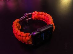 Apple Watch Paracord Band - Orange Glow In The Dark - Stainless Steel Adjustable Clasp, 550lb MILSPEC cord