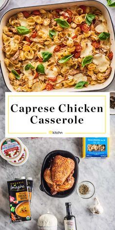 This Italian-inspired chicken casserole is packed with all the flavors of a classic caprese salad. Shredded chicken and pasta make it a substantial meal. Caprese Chicken Pasta, Chicken Pasta Casserole, Pasta Bake, Italian Dishes, Italian Recipes, How To Cook Chicken, Cheesy Chicken, Casserole Recipes, Dinner Recipes