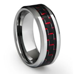 8MM Men's Tungsten Carbide Ring Wedding Band with Black and Red Carbon Fiber Inlay (Available in Sizes 8 to 15): Jewelry