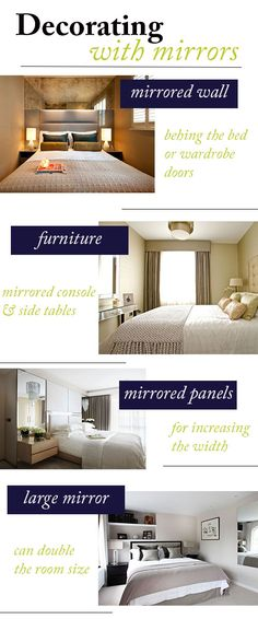 Small bedroom look bigger with mirrors