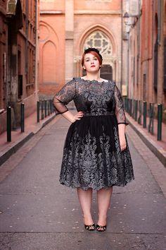 Audrey G. - Chichi London Lace Dress, André Black Peep Toe Heels With Golden Trim, Maison Guillemette Headband - The 50's lace dress