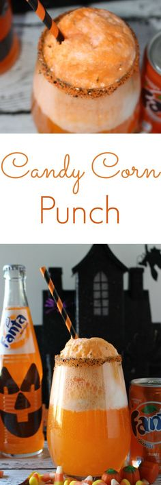 Candy Corn Punch - a spooktacular Halloween treat - Fanta, ice cream, cream soda - your little monsters will love it! #SpookySnackLab #IWorkWithCoke