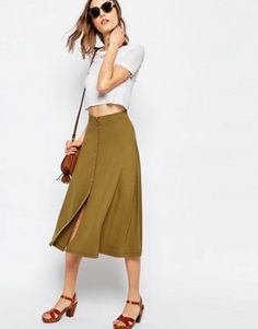 Buy ASOS Midi Skater Skirt With Poppers at ASOS. With free delivery and return options (Ts&Cs apply), online shopping has never been so easy. Get the latest trends with ASOS now. Green Skater Skirt, White Skater Skirt, Midi Flare Skirt, Flared Skirt, Asos, Elastic Waist Skirt, High Waisted Skirt, Khaki Skirt, Jersey Skirt