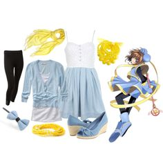 """Sakura - Blue/Yellow Outfit"" by catloverd on Polyvore"
