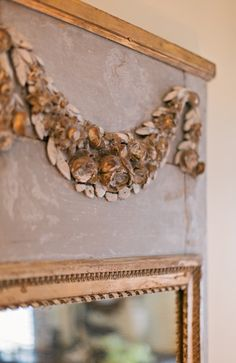 If I painted the top of the buffet this soft gray/blue leaving golden oak trim alone and added a painted swag to match my ceiling medallion...oh dreamy dream...
