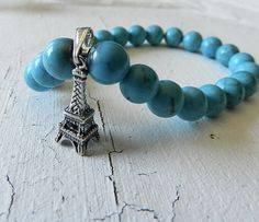 Bracelet Beaded Stretch Paris Charm Blue by maartjejewels on Etsy, $38.00