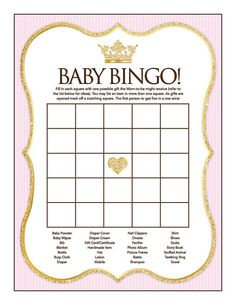 Easy Baby shower games are easy to prepare and play but definitely a thrilling time for shower guests. Shower hostess look for easy baby games online or baby shower event planner because of the many a Bingo Baby Shower, Royal Baby Shower Theme, Fiesta Baby Shower, Royal Baby Showers, Baby Bingo, Baby Shower Princess, Baby Shower Printables, Baby Shower Parties, Baby Party