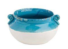 Abigails Puglia Bowl, Turquoise & Matte White, Large