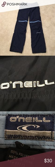 Women's O'neill pants The women's O'neill pants are made from polyester. They are very light in weight. There are two back pockets and four front pockets. The logo is found on the bottom of the pants. These pants are great for lounging or wearing under snow gear. Great condition! Size small. oneil Pants