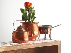 Vintage Copper Miniature Set of 3, Swedish Footed Copper, Handhammered Pot, Teapot, Metal Dish, Brass Vessels, Scandinavian Tableware by LittleRetronome, $15.00