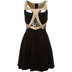 Ginger Fizz Gold harness skater dress ($78) found on Polyvore