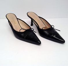 Chanel Black Pointed Mules Size 38