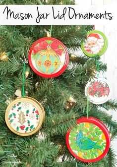 There are so many ways to upcycle mason jar lids, aren't there? And mason jar lid ornaments are a great place to start. These use graphics from vintage Christmas wrapping paper to create adorable ornaments with retro flair! #masonjarcrafts #masonjarlidornaments #DIYchristmasornaments #masonjarlidcraft #vintagewrappingpaper #retroChristmasdecor #vintageChristmasdecor #Christmascraftideas All Things Christmas, Kids Christmas, White Christmas, Merry Christmas, Mason Jar Lids, Mason Jar Crafts, Diy Christmas Ornaments, Christmas Decorations, Vintage Christmas Wrapping Paper