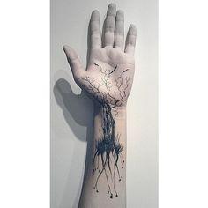 tree tattoo on hand