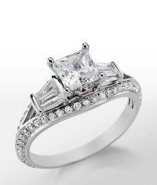 Monique Lhuillier Tapered Baguette Engagement Ring in Platinum #BlueNile