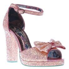 Irregular Choice Pale Pink Flaming June Glitter Womens High Heels