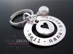 Stamped Around My Heart - Personalized Key Chain by BragAboutIt