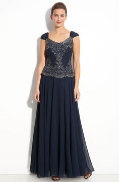 J Kara Beaded Mock Two-Piece Chiffon Gown available at #Nordstrom
