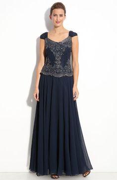 J Kara Beaded Mock Two-Piece Chiffon Gown | Nordstrom