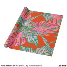 Shop Palm leaf and coleus topical fire wrapping paper created by Butterflybeestro. Tropical Design, Custom Wrapping Paper, Fire And Ice, Coral Pink, Palm, Create Yourself, Outdoor Blanket, Wraps, Gift Wrapping