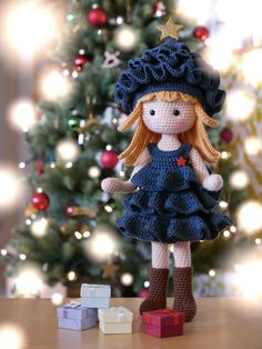 design:Doll With Pine Tree Costume by Havva Ünlü (the doll is a hybrid of many different patterns and my own ideas, the dress is made with changes to fit her)