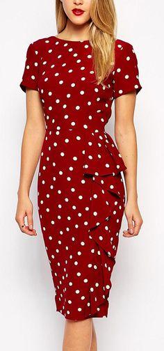 Retro dot pencil dress