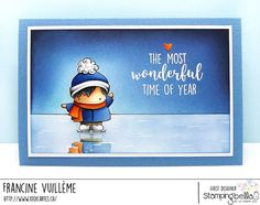 www.stampingbella.com: rubber stamp used: Little bits FIGURE SKATERS and HOLIDAY SENTIMENT SET, card by FRANCINE VUILLEME