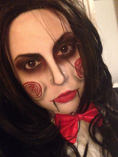 Billy the Puppet from Saw makeup. Jigsaw puppet Saw Halloween costume makeup Done by me