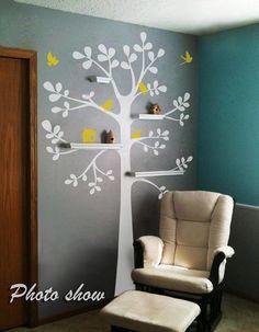 """ARBRE-autocollant mural motif arbre-étagères en vinyle motif arbre à oiseaux décoratif pour chambre d'enfant motif sticker mural pour chambre d'enfant décor, Vinyle, A, 88""""hx62""""w"""