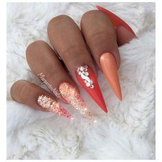 stiletto nails Glitter ombré nail art design
