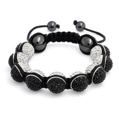 Bling Jewelry Shamballa Inspired Bracelet Reversible Black White Crystal 12mm
